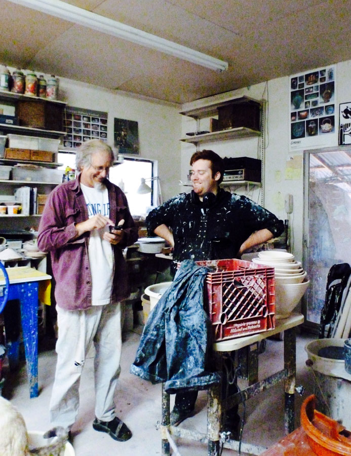 Peter Lippincott and Joseph Bramlett playing in the studio